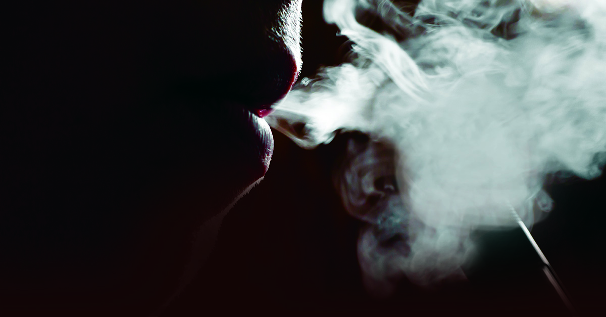 Zoomed in picture of someone vaping